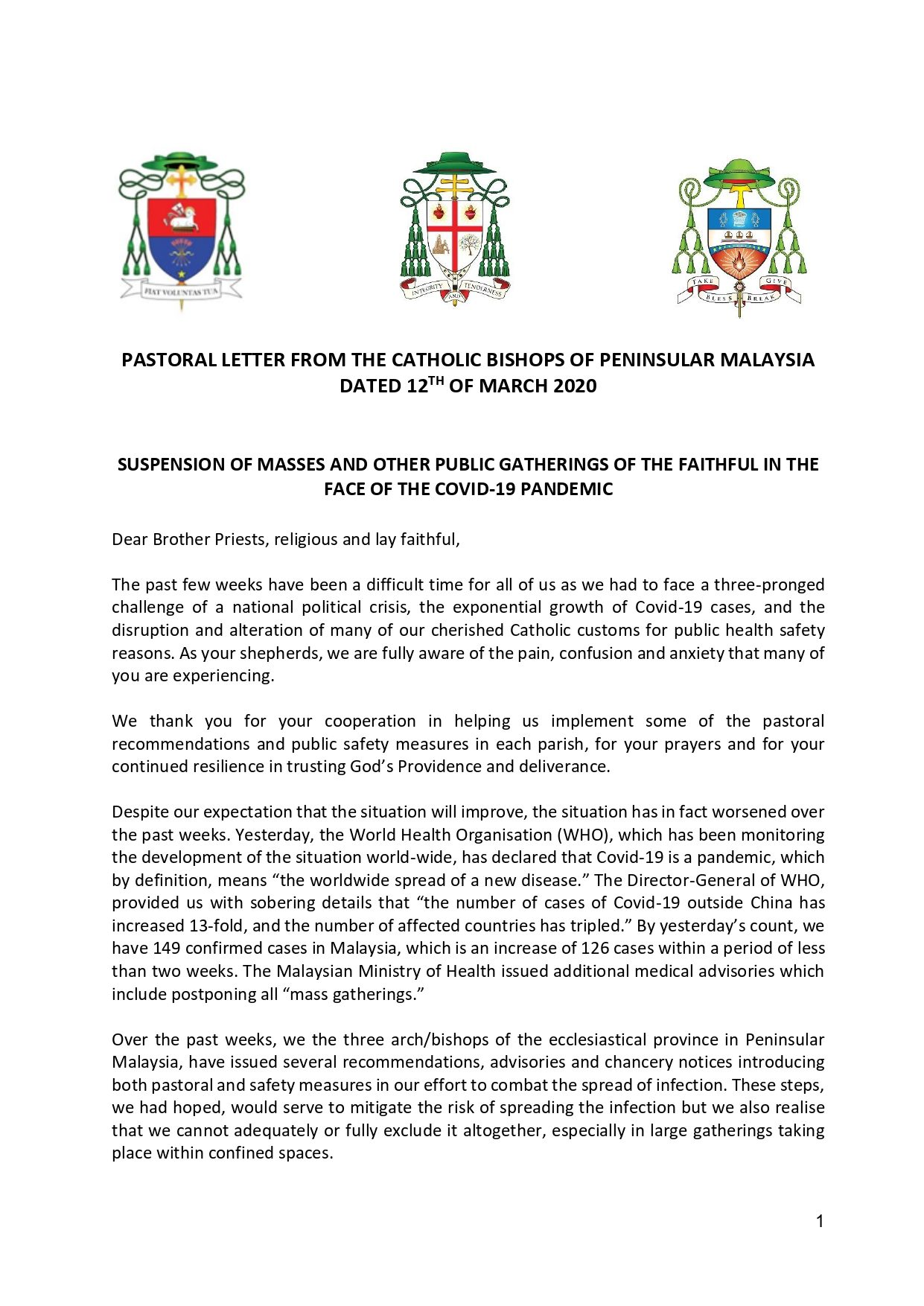1. Pastoral Letter Suspension of Masses page 1